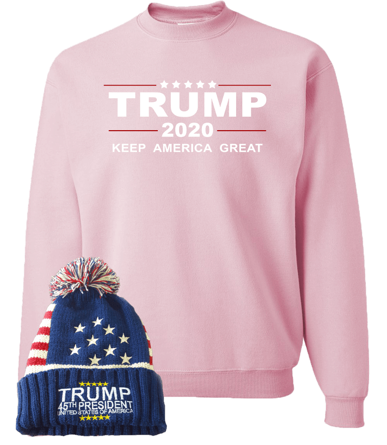 Trump 2020 Pink Sweatshirt With Free Beanie
