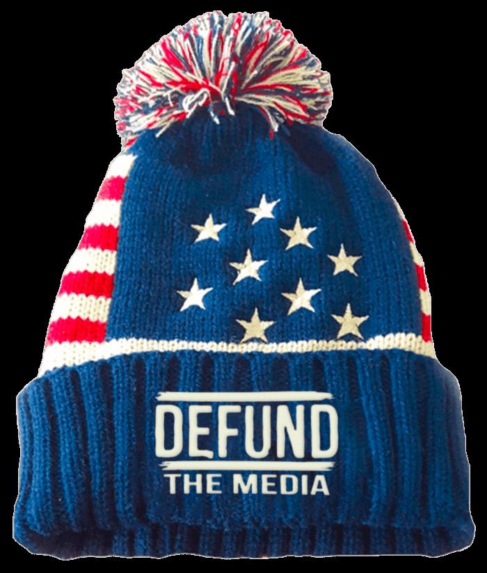 defund the media patriotic beanie